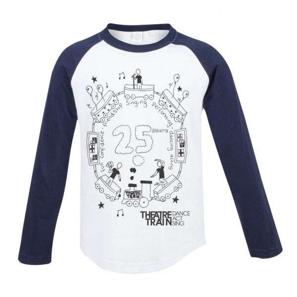 _25th Anniversary White / Navy Long Sleeve Children's Baseball T
