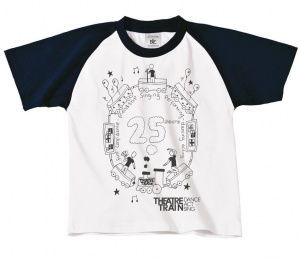 25th Anniversary White / Navy Short Sleeve Children's Baseball T