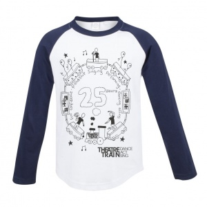 25th Anniversary White / Navy Long Sleeve Children's Baseball T