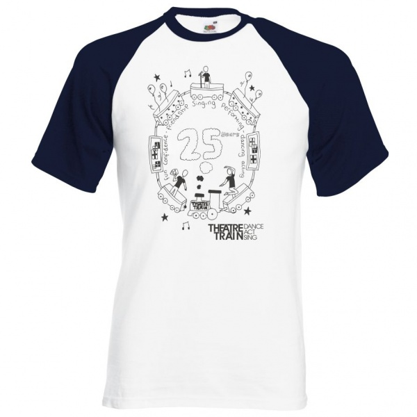 _25yr Anniversary White / Navy Adult's Short Sleeve Baseball T